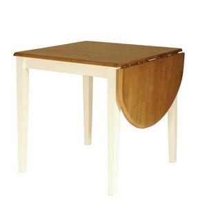 Meubelen-Online - Eettafel York hangoor wit met hout vierkant
