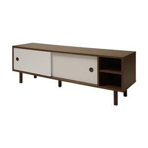 Meubelen-Online - TV-meubel Hansa walnoten met grijze schuifdeuren