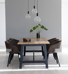 Meubelen-Online - Eethoek Puur 220cm met 6 stoelen compleet
