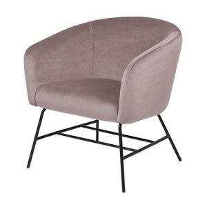 Zwarte Design Fauteuil.Fauteuil Oliver Stof Roze Design Met Zwarte Poten