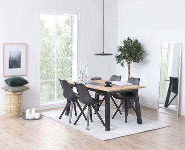 Meubelen-Online - Eethoek Mick hout met zwarte stoelen compleet