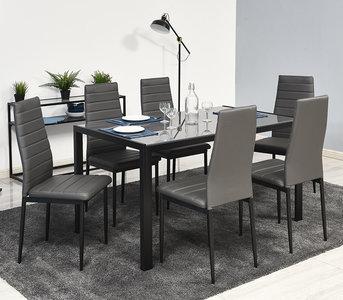 Meubelen-Online - Eethoek Stylo tafel met zes stoelen