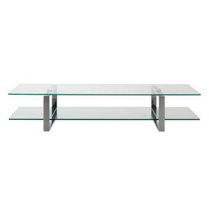 Meubelen-Online - TV-tafel Magnus glas met chroom TV-meubel