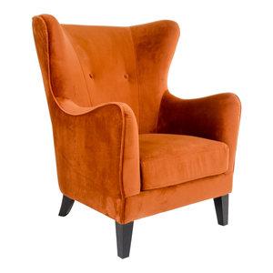 Meubelen-Online - Fauteuil Oxford velours oranje oorfauteuil