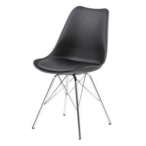 Meubelen-Online - Eetkamerstoel Plaisir set 4 stoelen zwart chroom