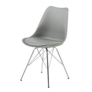 Meubelen-Online - Eetkamerstoel Plaisir set 4 stoelen grijs chroom