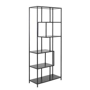 Meubelen-Online - Boekenkast Honkytonk 185cm asymmetrisch zwart