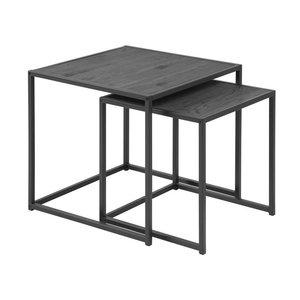 Meubelen-Online - Bijzettafels Honkytonk zwart set twee tafels