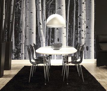 Meubelen-Online - Eethoek Picasso witte eettafel met 6 zwarte stoelen