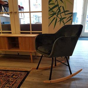 Meubelen-Online - Fauteuil Fancy schommelstoel stof groen velours sfeer