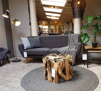 House Nordic - Salontafel Grand Canyon hout met glas sfeer