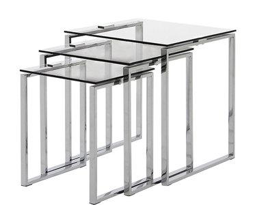 Bijzettafels Casa set van 3 tafels helder glas