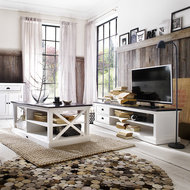Nova solo TV-meubel Landhuis 180cm wit met zwart blad sfeer