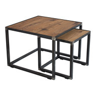 Soinder Bijzettafel Roger set 2 tafels eiken hout met blacksmith