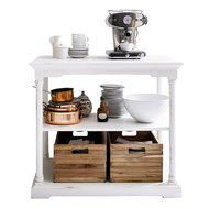 Keukentafel Cottage wit hout met twee boxen sfeer