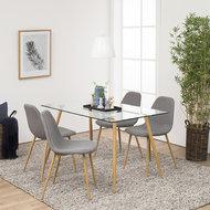 Meubelen-Online - Complete eethoek Fred tafel met stoelen bruin