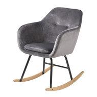 Meubelen-Online - Fauteuil Fancy schommelstoel stof grijs velours