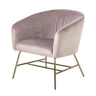 Meubelen-Online - Fauteuil Oliver stof roze design met goudkleur